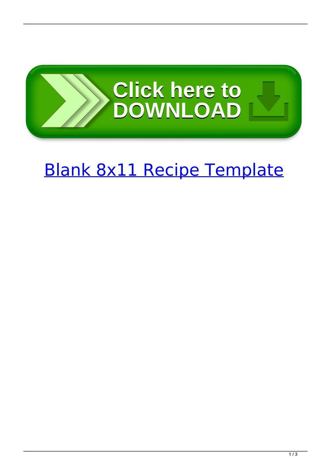 Blank Recipe Template 8×11