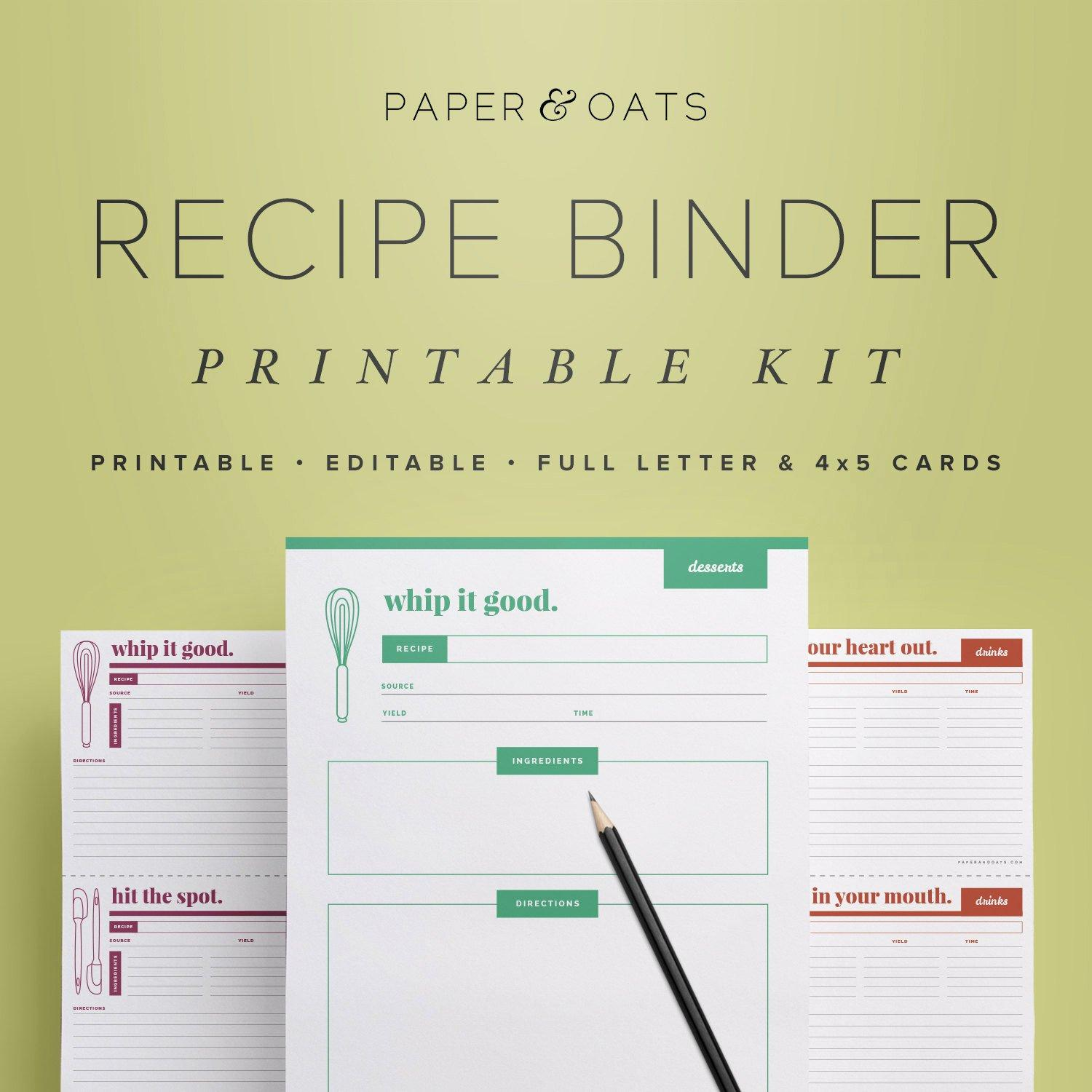 Blank Recipe Template Pages