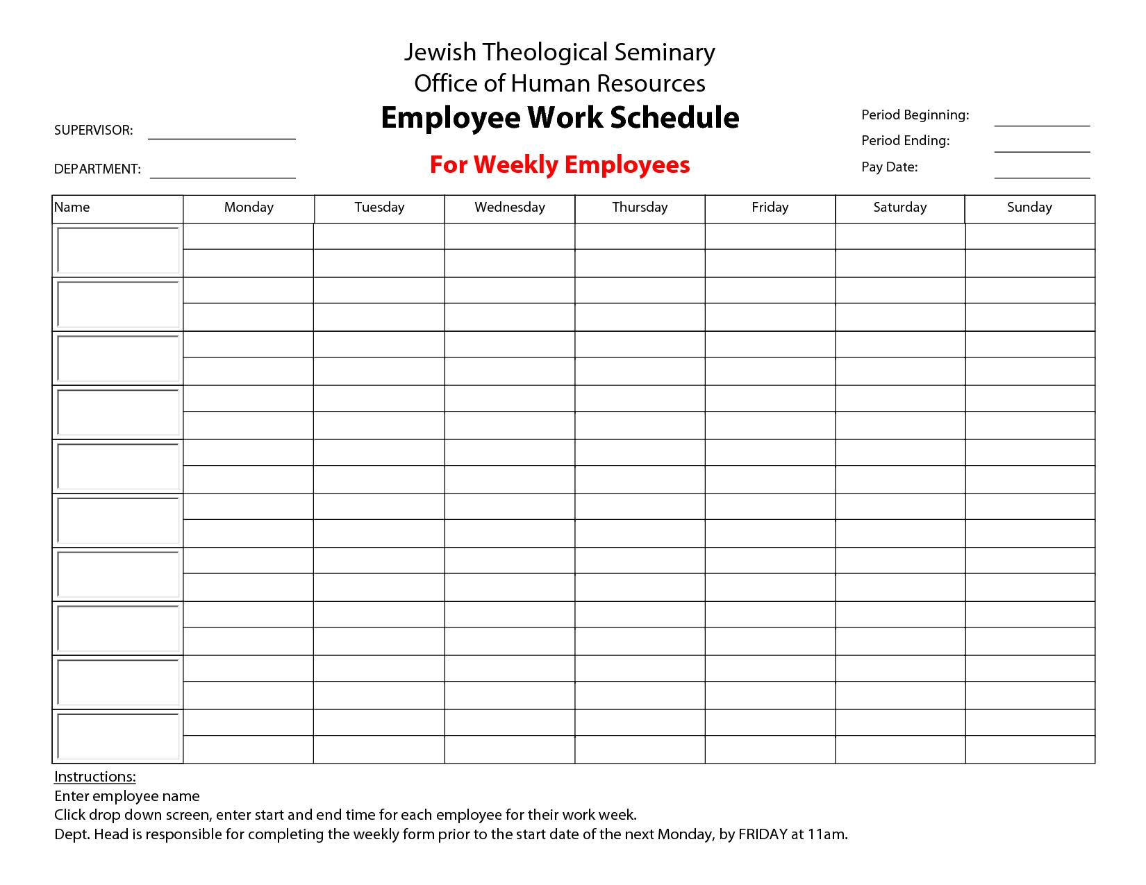 Blank Restaurant Employee Schedule Template