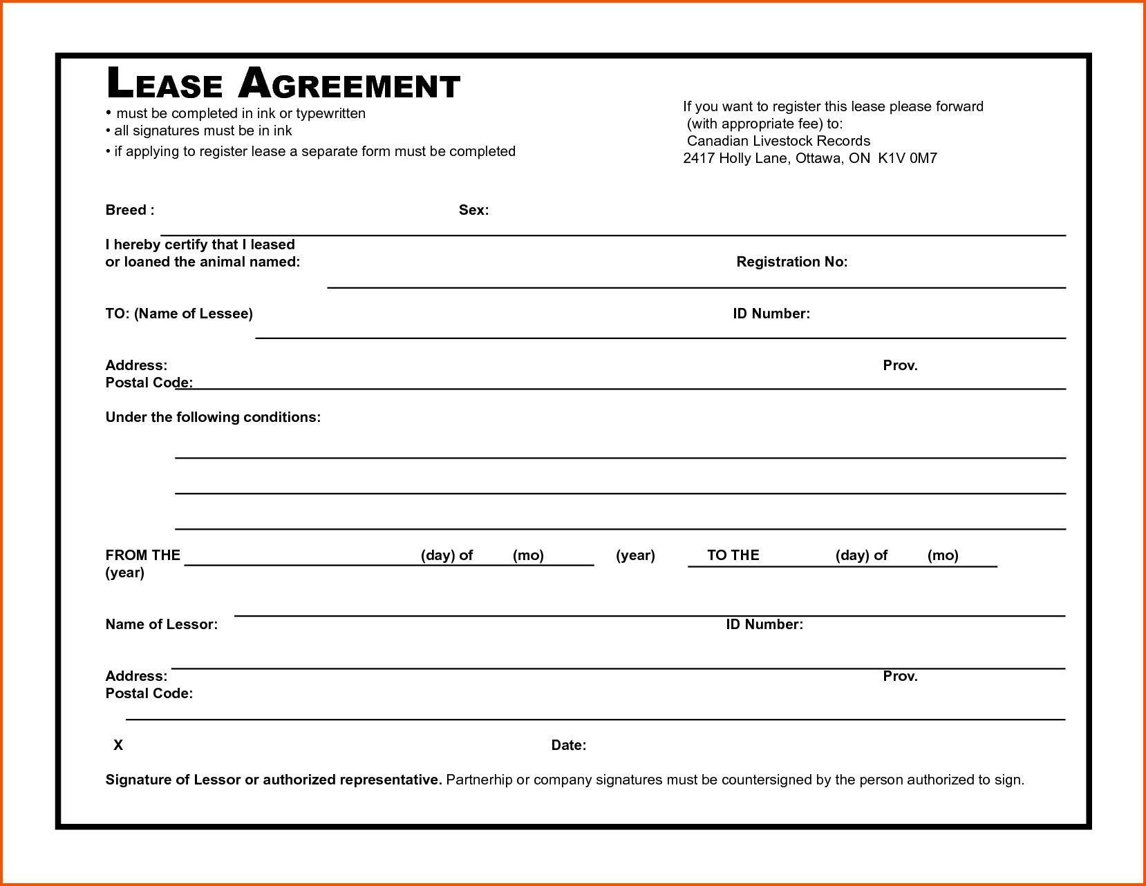 Blank Tenancy Agreement Template Free