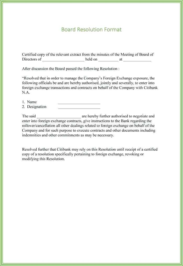 Board Resolution Template Uk Free