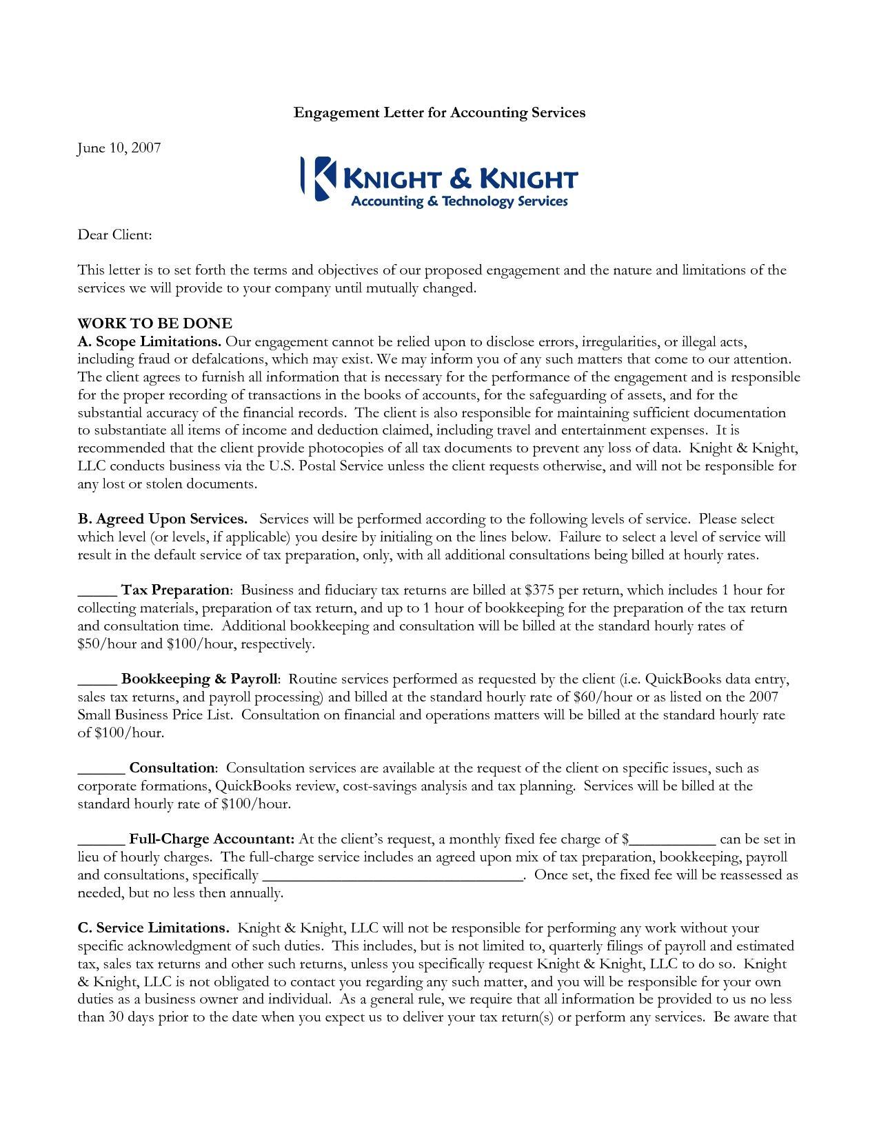 Bookkeeping Engagement Letter Sample