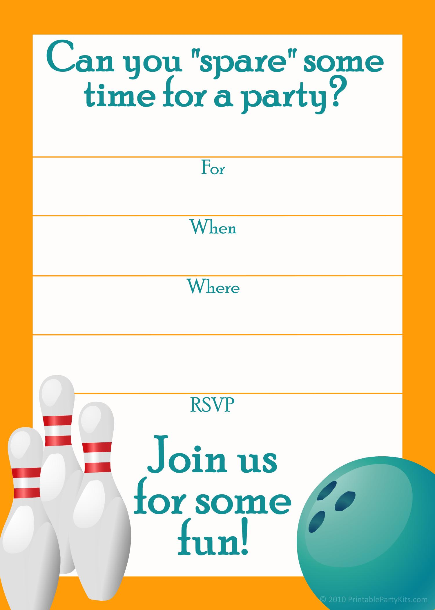 Bowling Invitations Templates Free