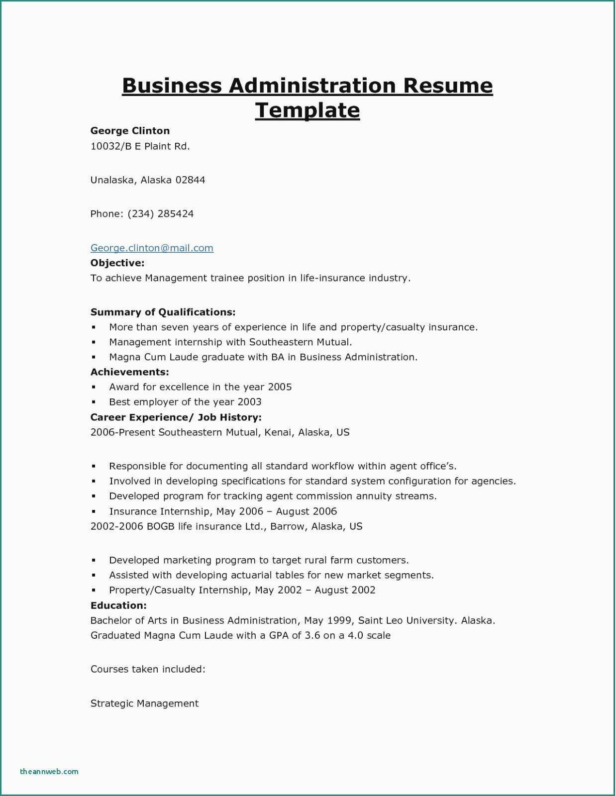 Business Administration Internship Resume Sample
