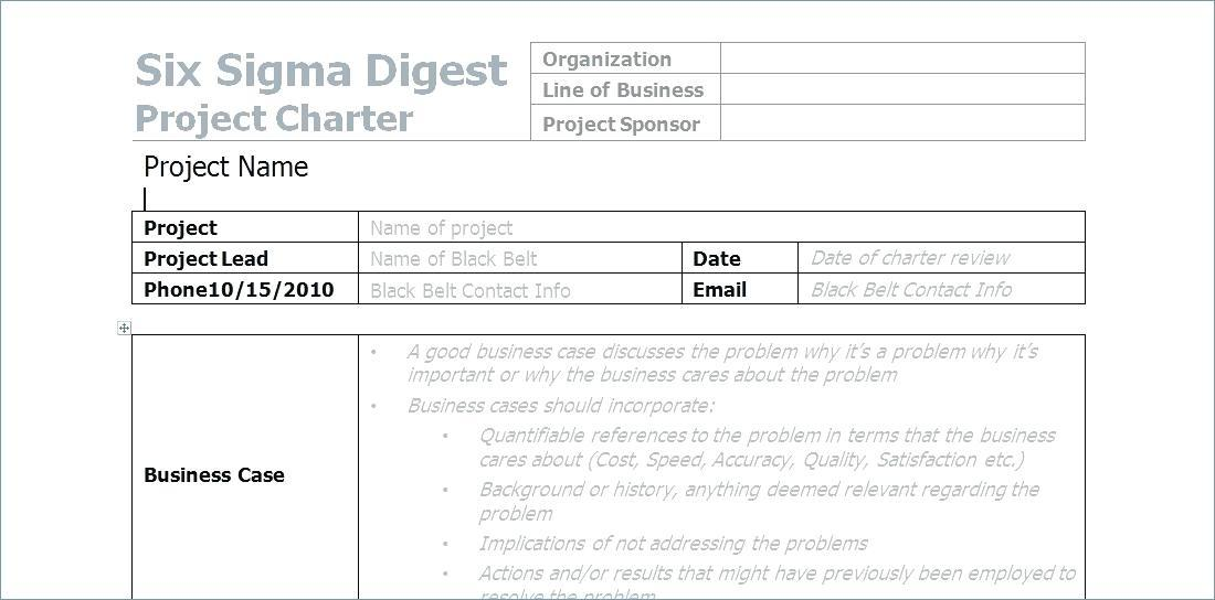 Business Project Charter Template