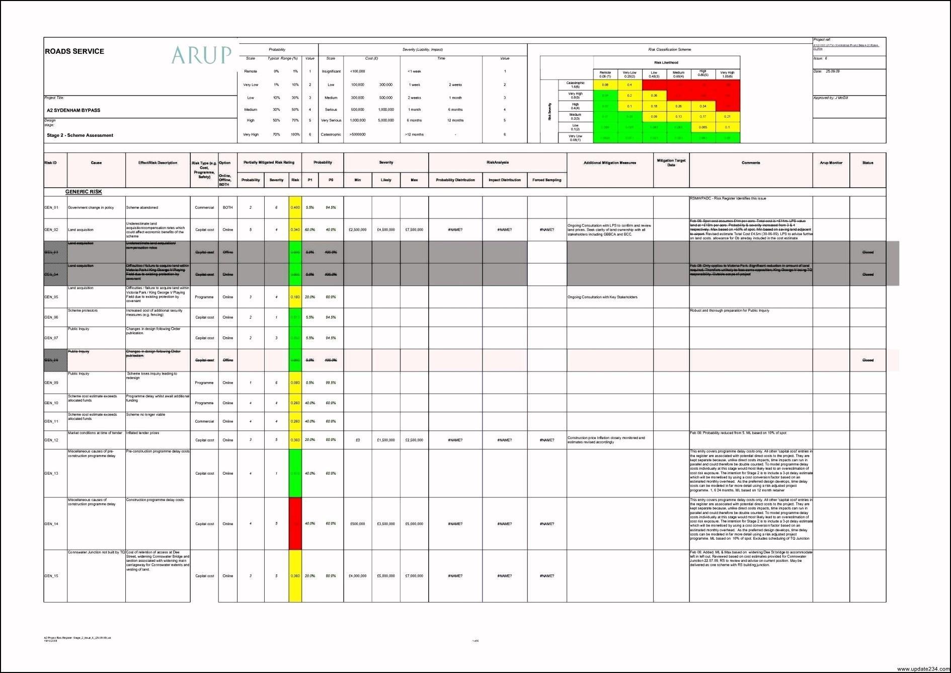 Business Risk Assessment Template Xls