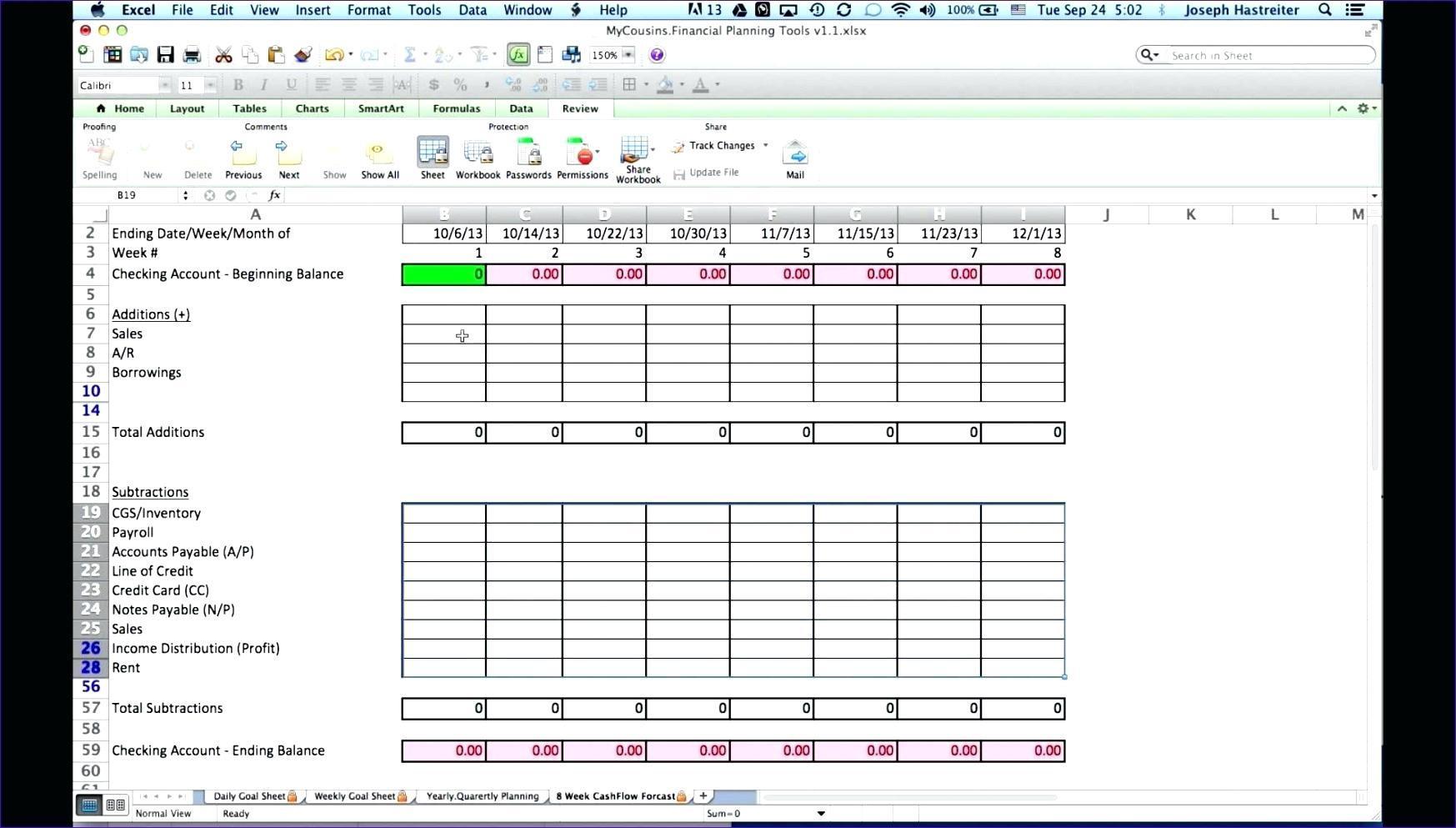 Cash Flow Forecast Template Construction
