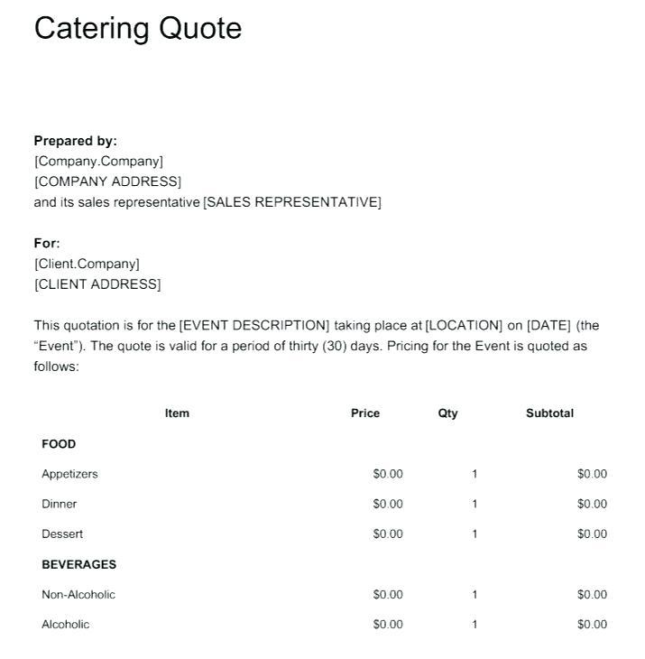 Catering Inquiry Form Template