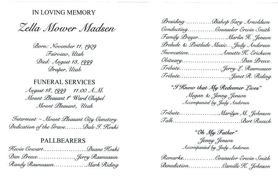 Catholic Funeral Service Program Template