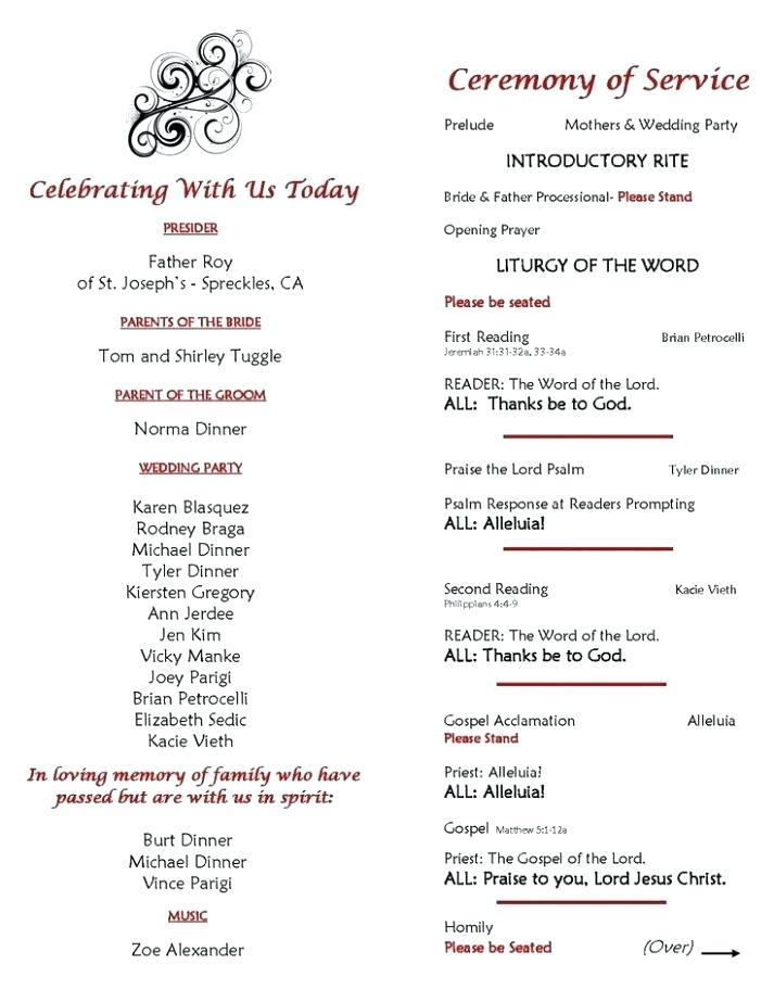 Catholic Wedding Ceremony Program Template With Mass
