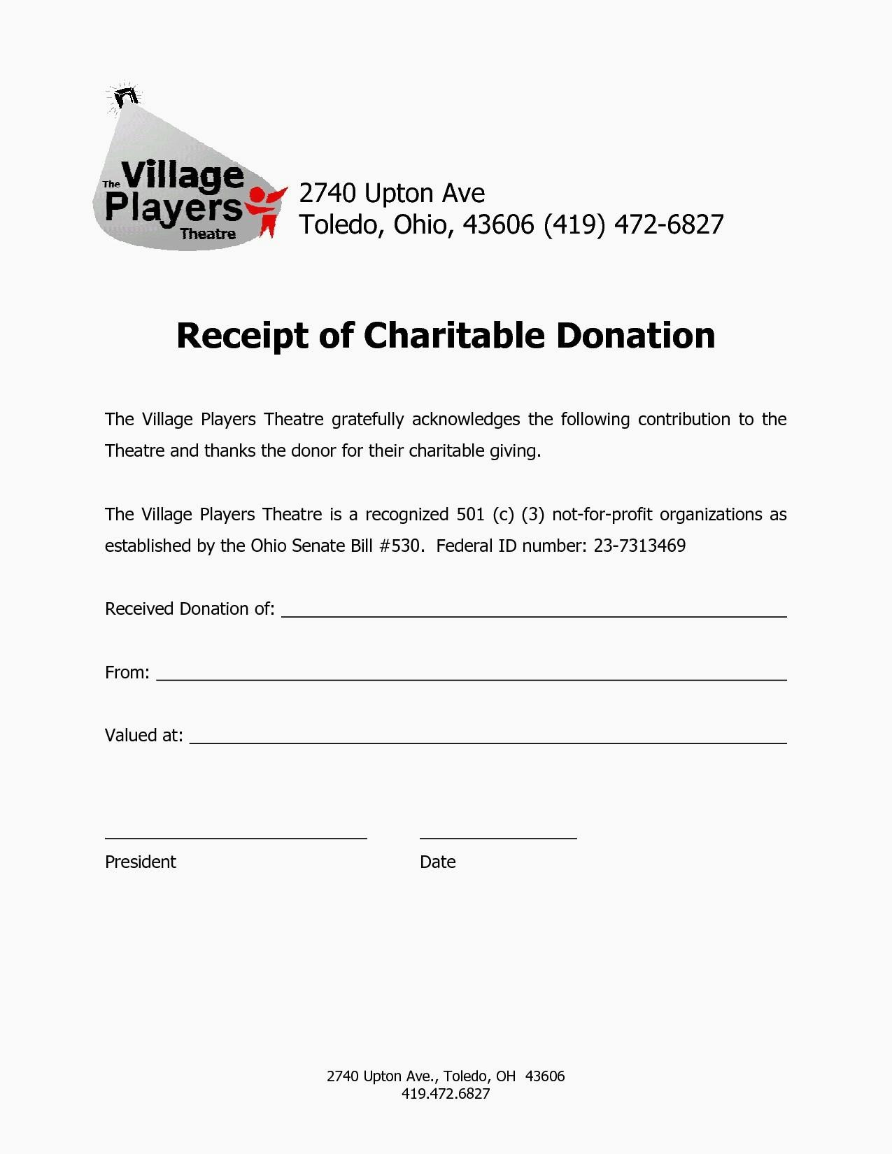 Charitable Contribution Receipt Letter Template