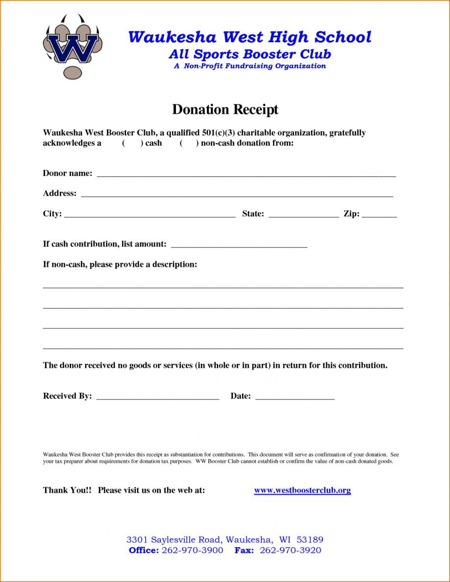 Charitable Donation Receipt Template Canada