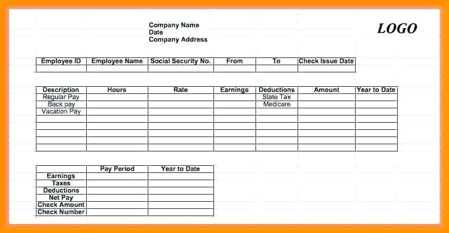 Check Stub Template For 1099 Employee