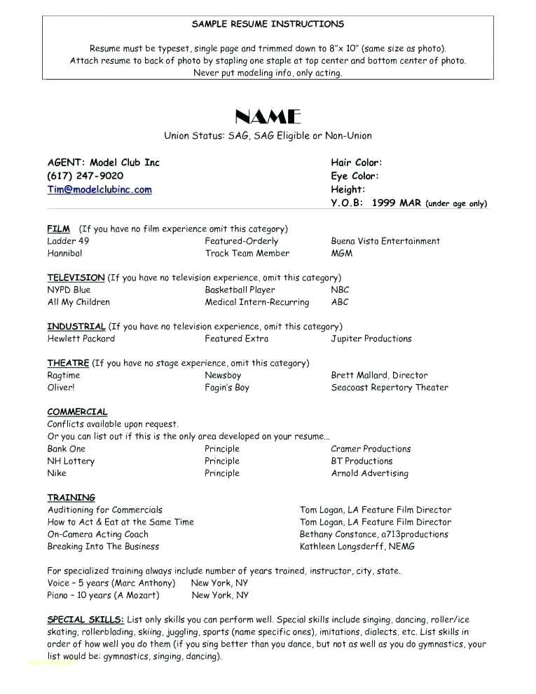 Child Actor Resume Template Free