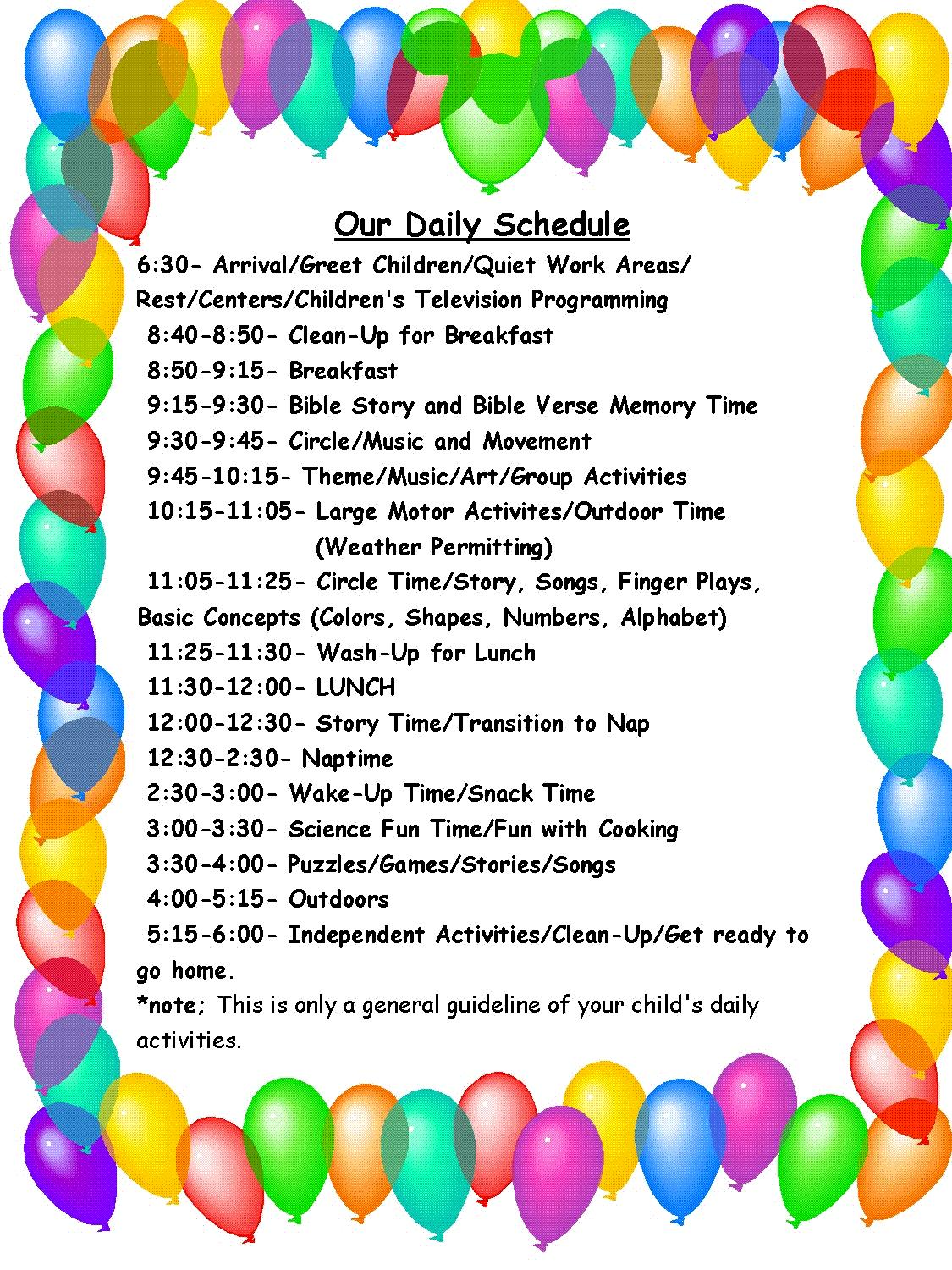 Child Care Center Daily Schedule Template