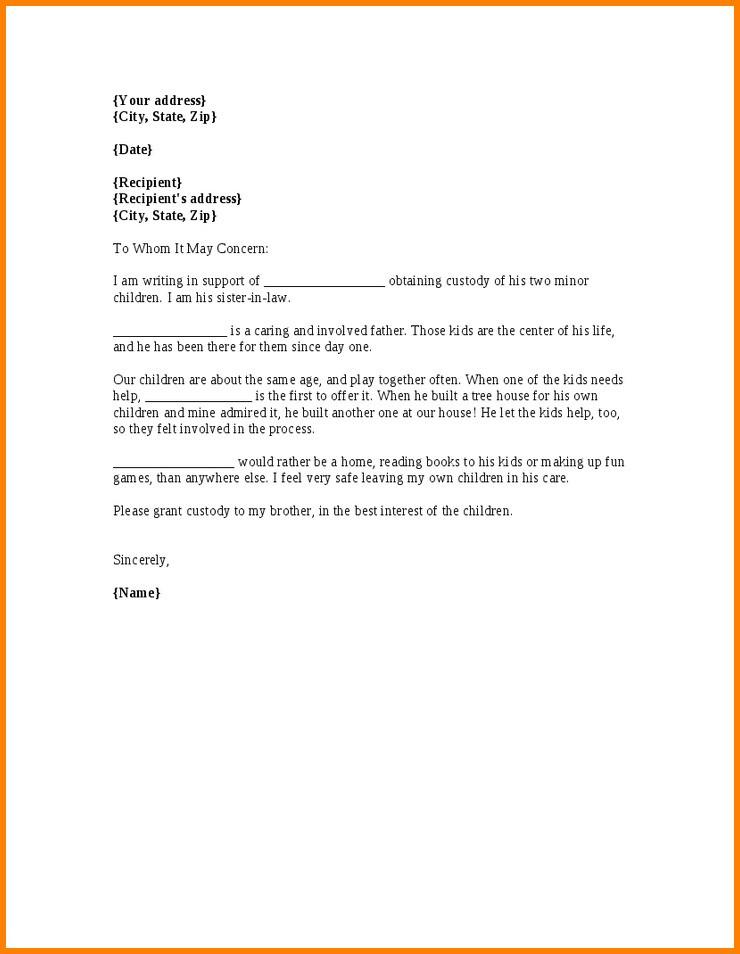 Child Guardianship Letter Template