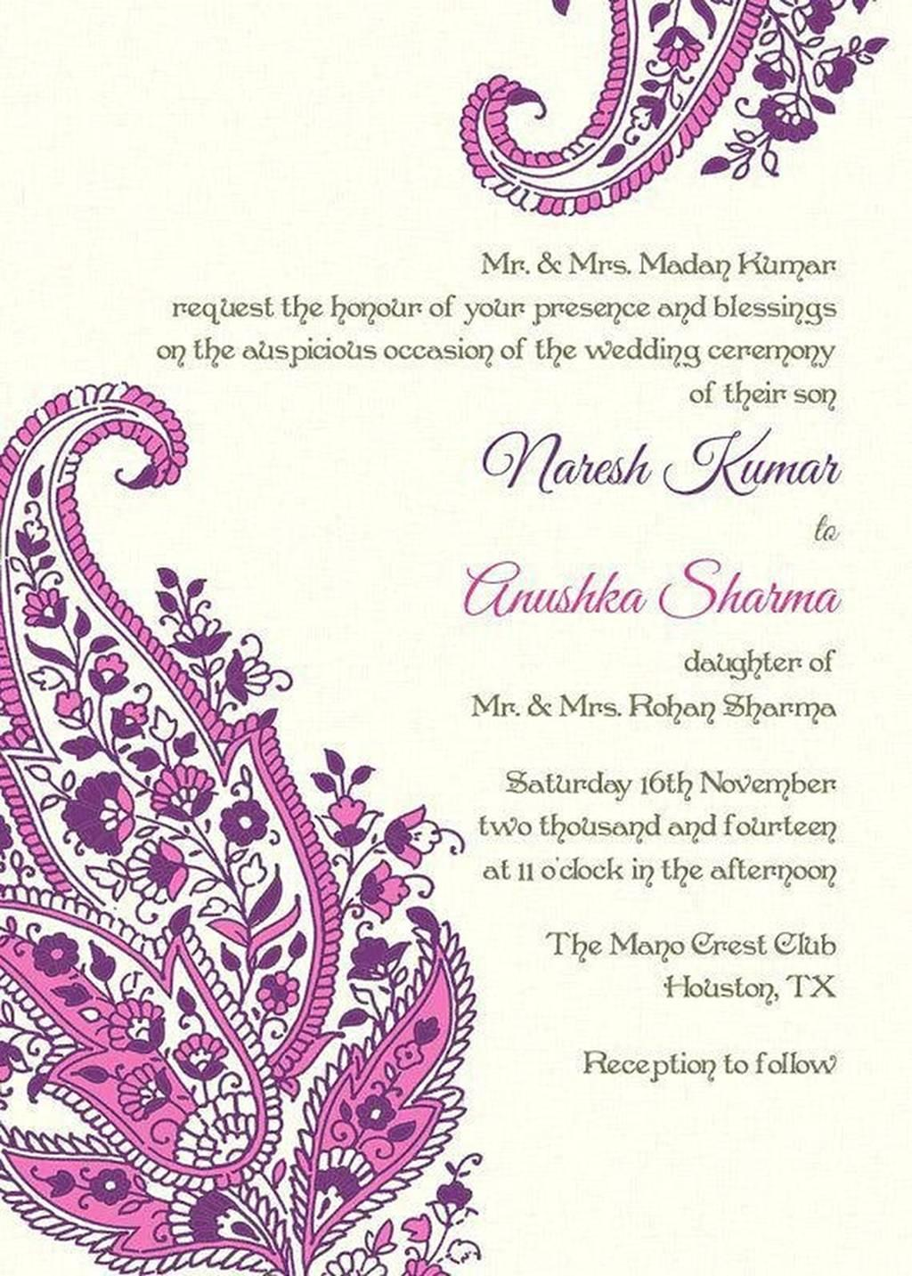 Chinese Wedding Invitation Text Template