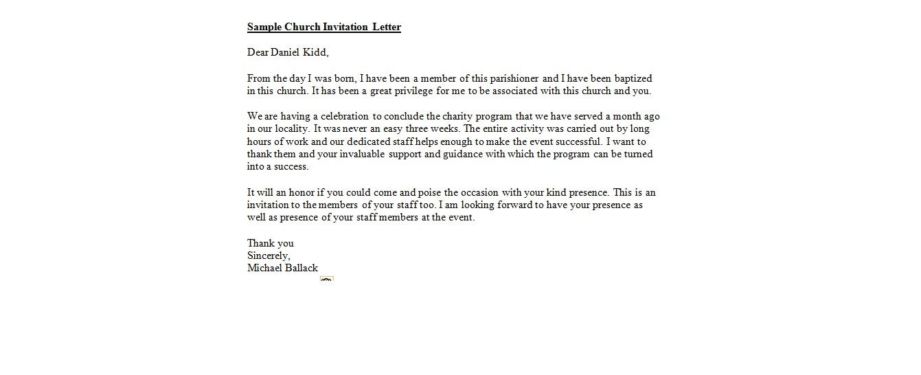 Church Invitation Letter Templates