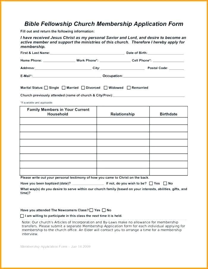 Church Membership Application Form Template