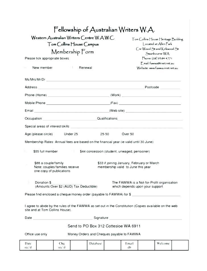 Church Registration Form Template Free