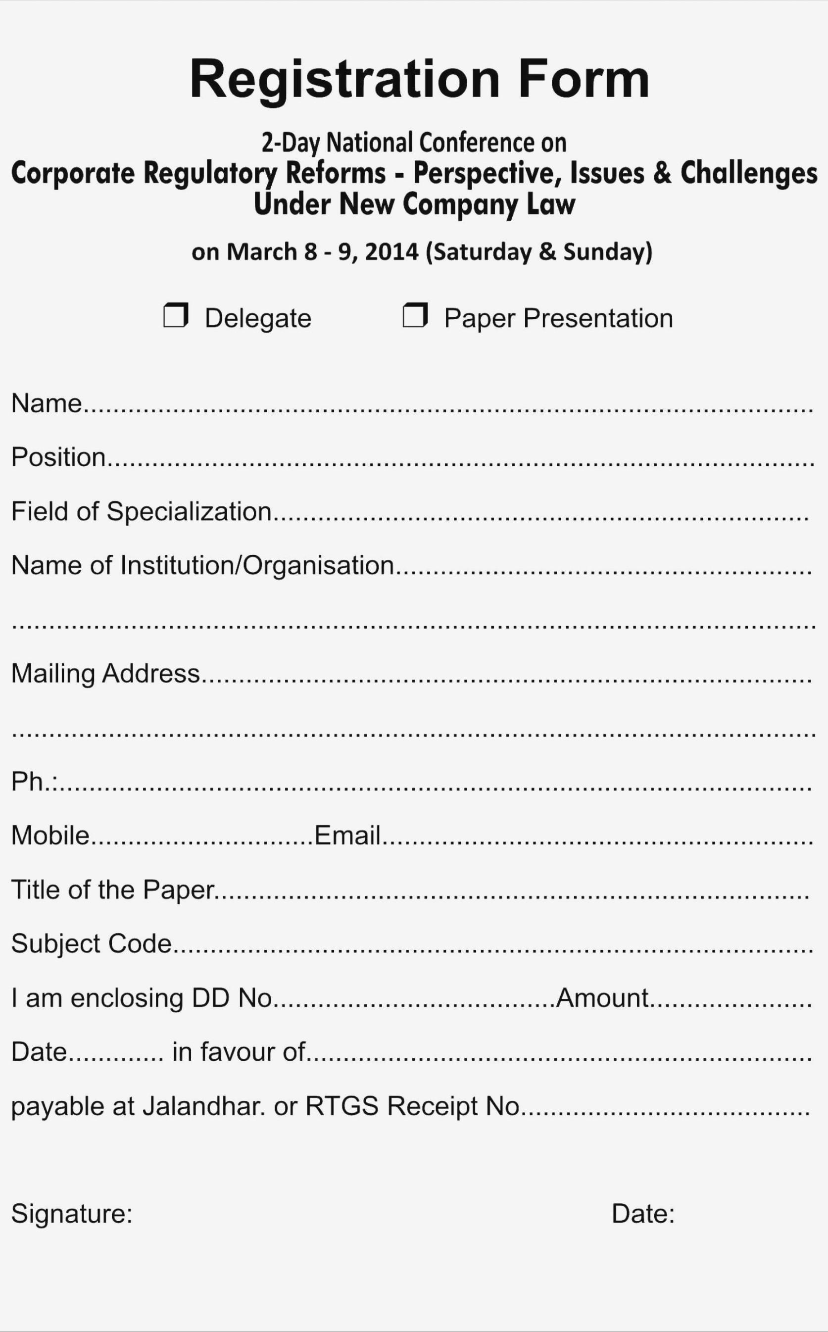 Church Registration Form Template