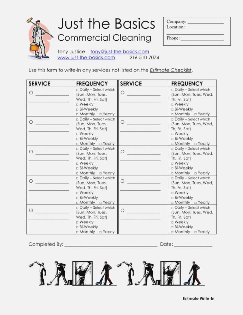 Cleaning Service Checklist Form