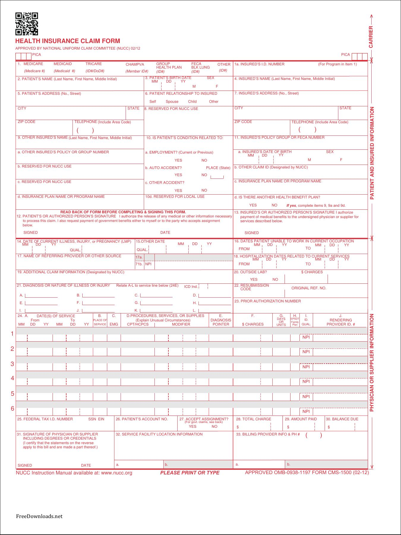 Cms 1500 Claim Form Template
