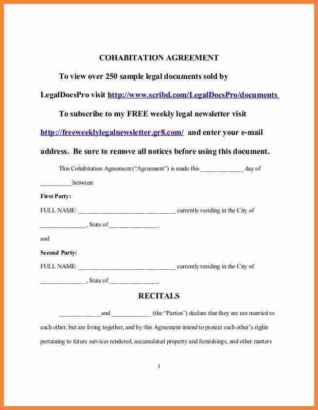 Common Law Separation Agreement Template Manitoba