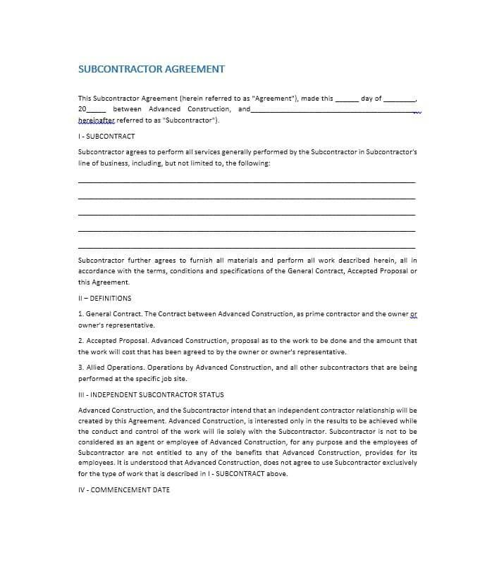 Construction Subcontractor Agreement Form