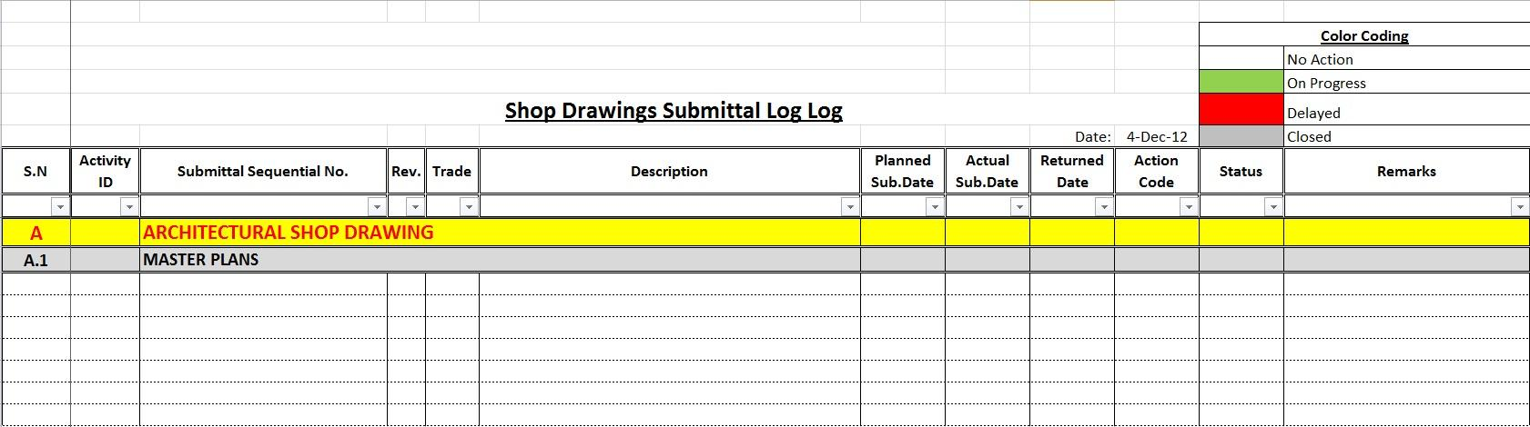 Construction Submittal Log Template