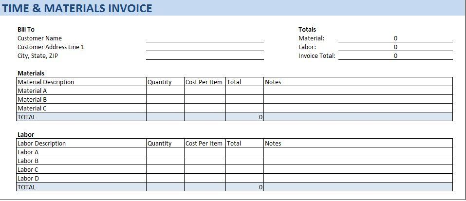 Construction Time And Materials Invoice Template