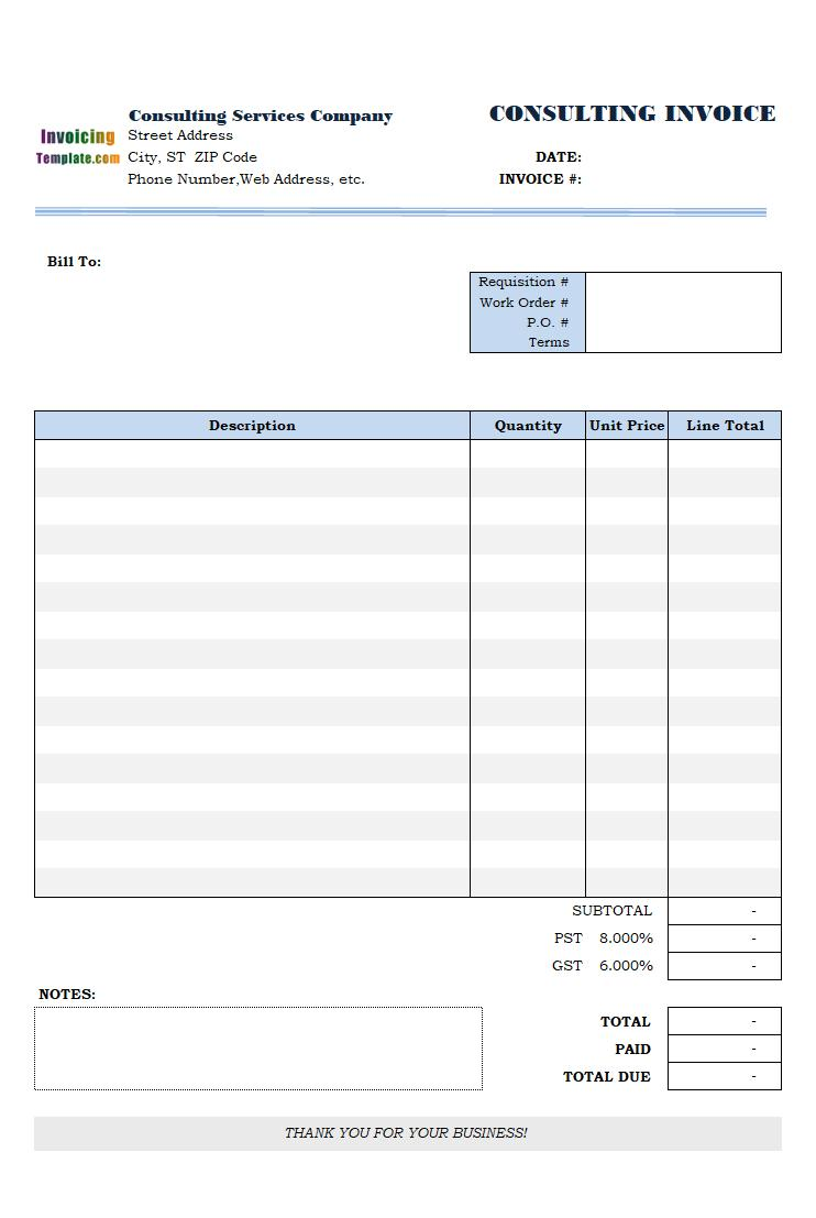 Consulting Invoice Template Canada