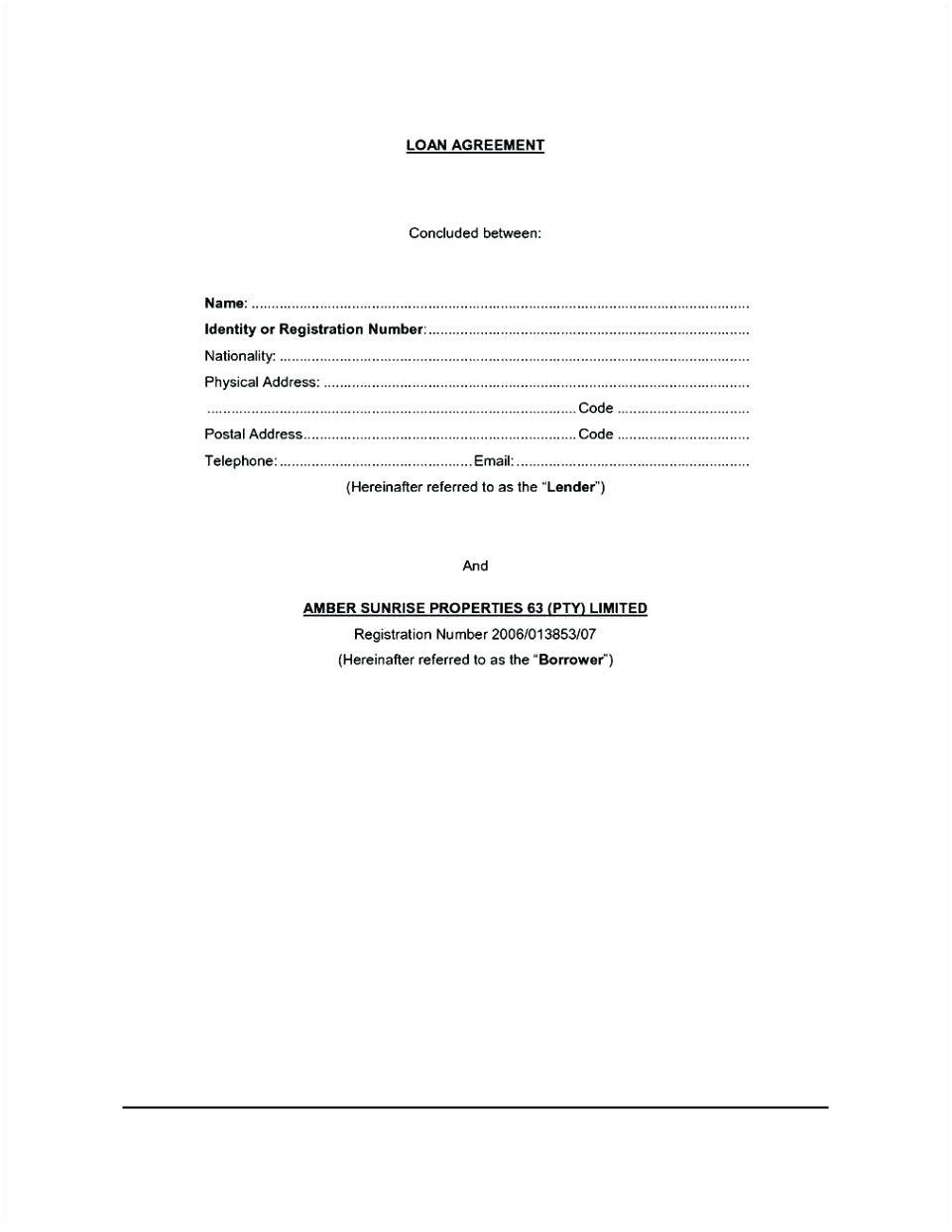 Contract Template For Borrowing Money