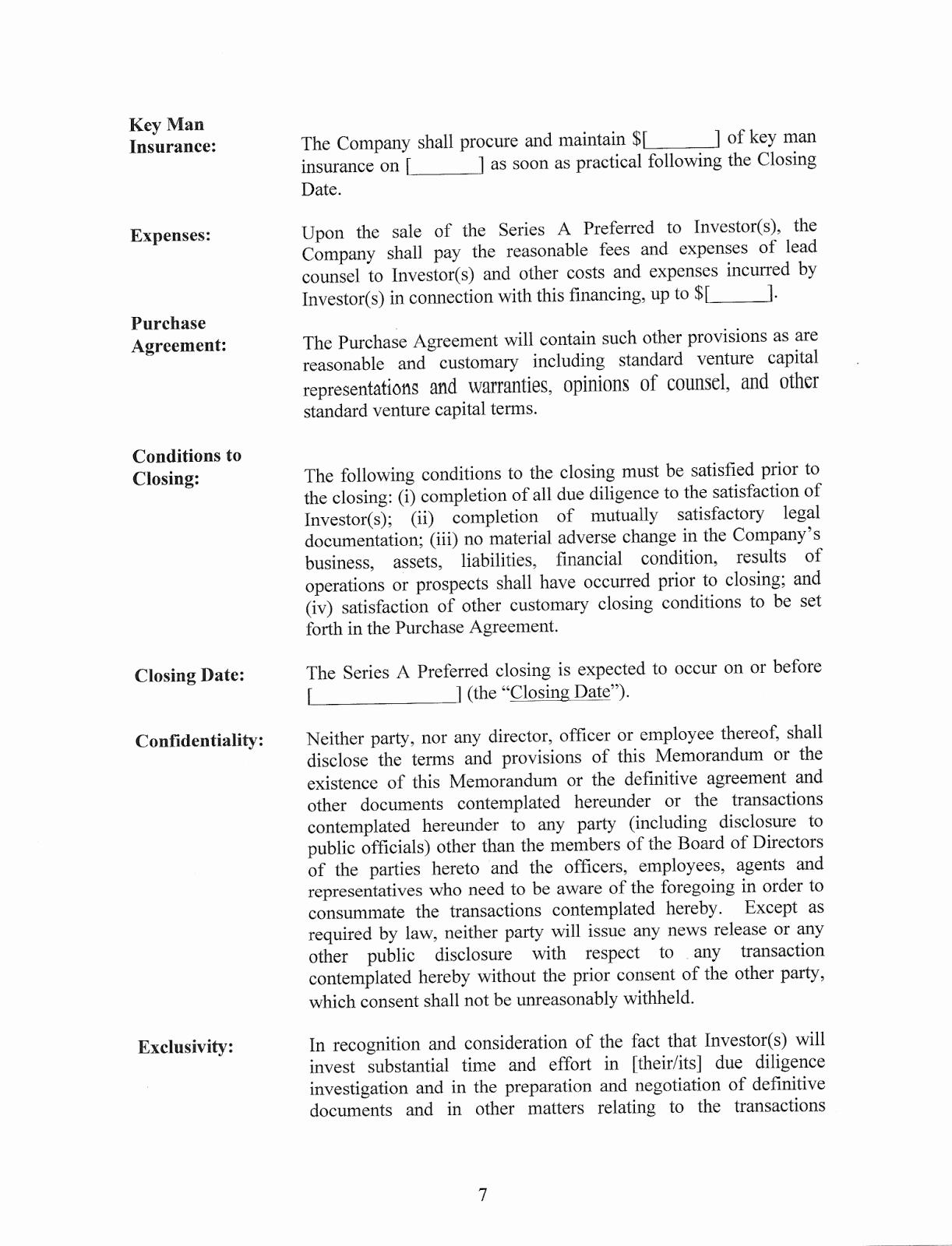 Contract Term Sheet Example