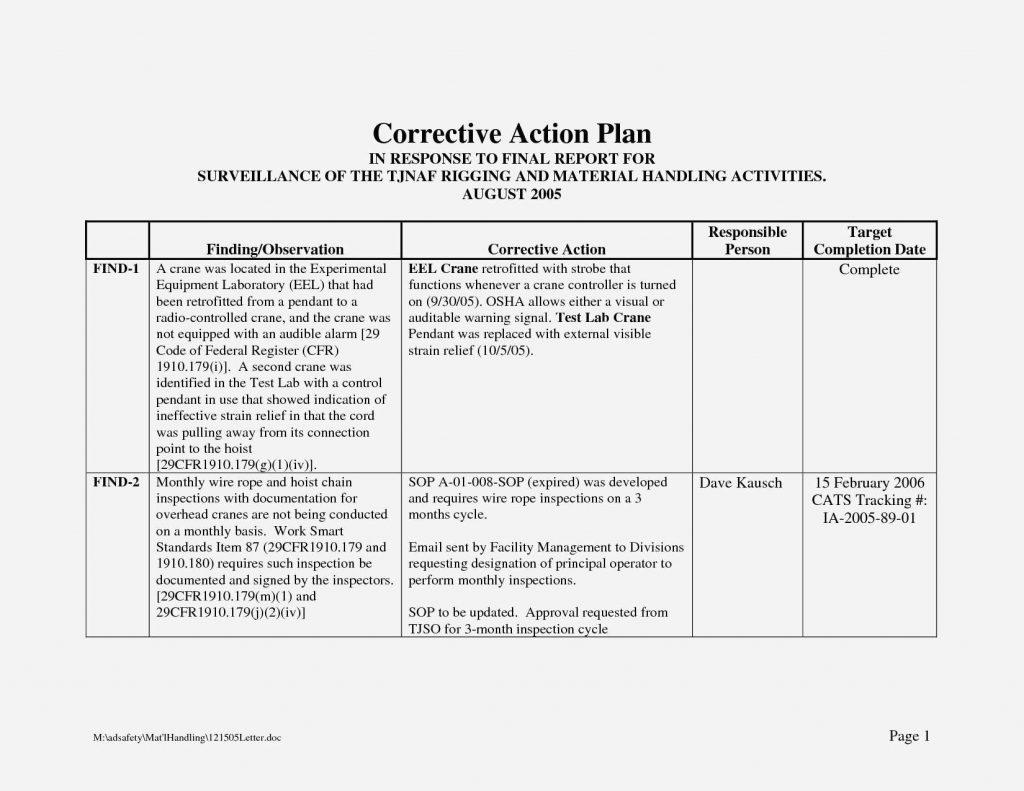 Corrective Action Plan Template Doc