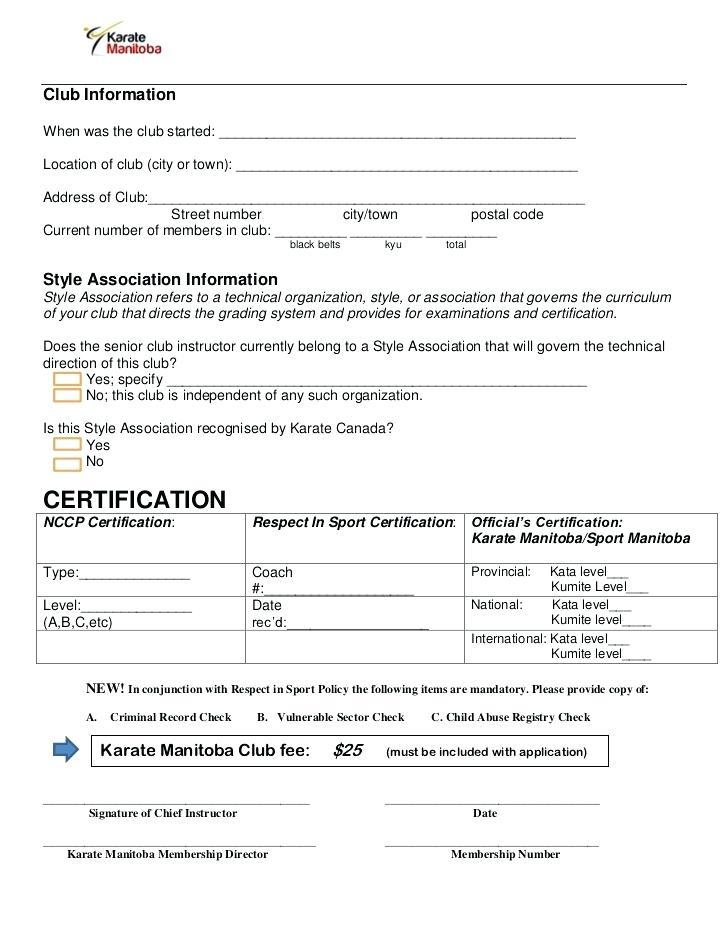 Cricket Club Registration Form Template