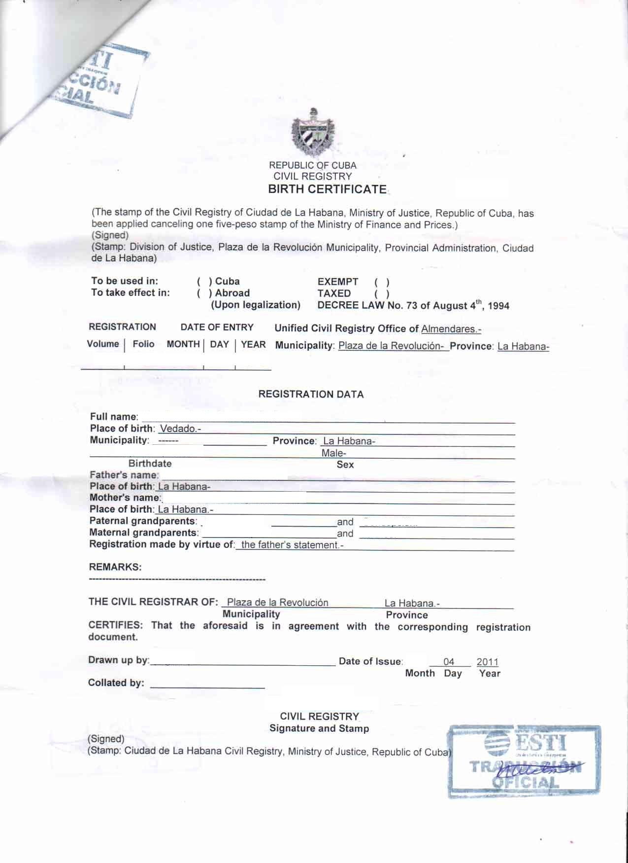 Cuban Marriage Certificate Translation Template