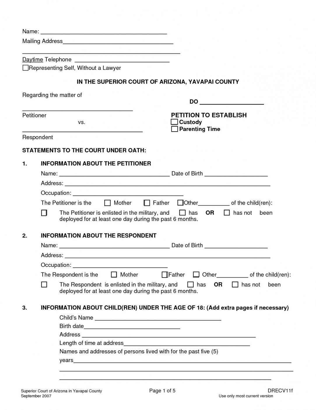 Custody Agreement Template Free