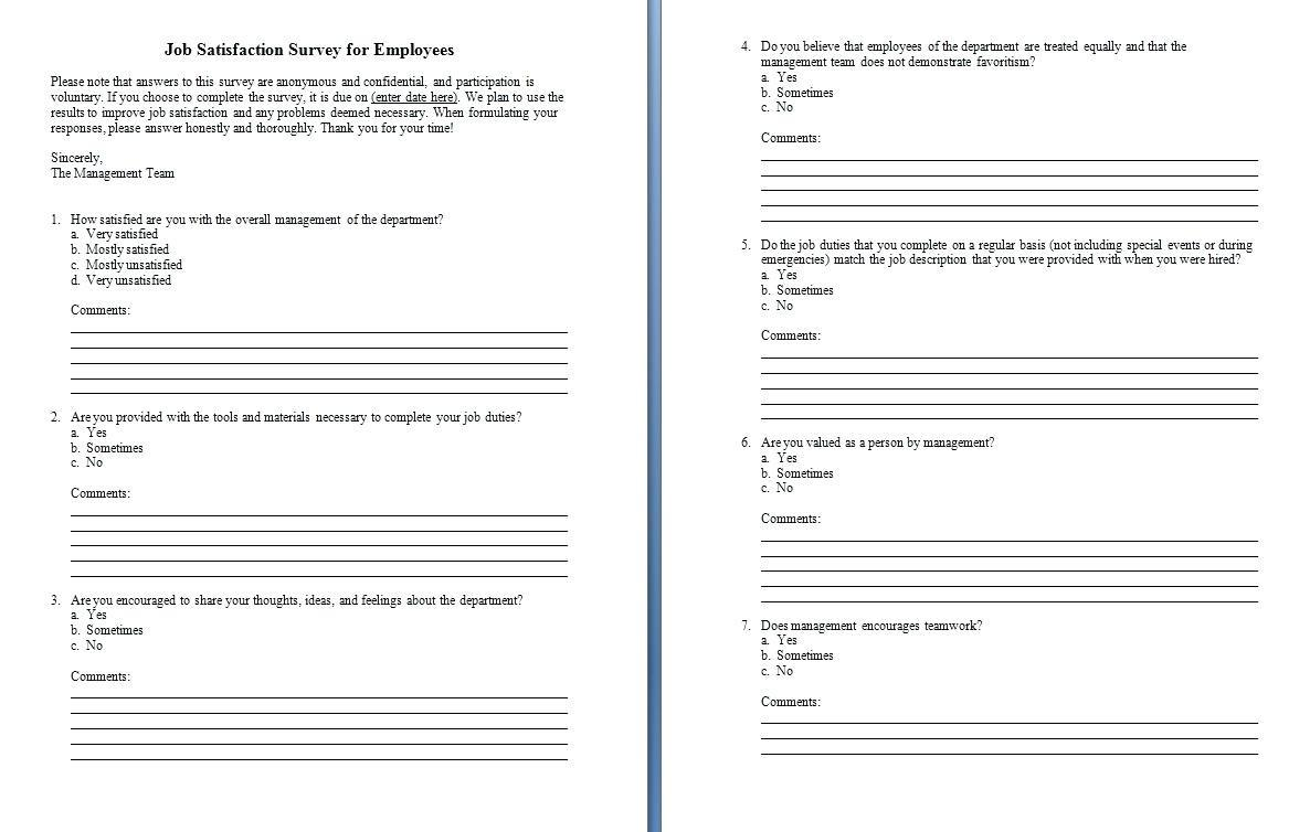 Customer Satisfaction Survey Template Construction