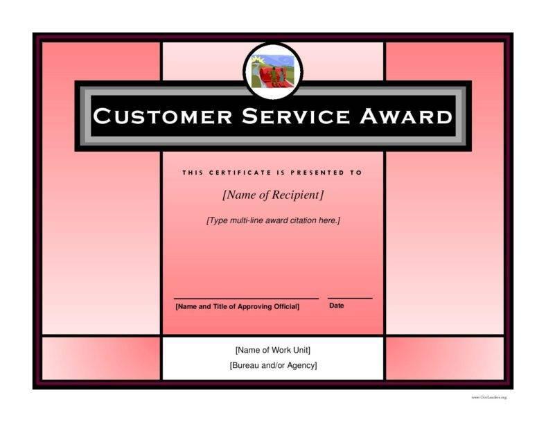 Customer Service Award Certificate Templates