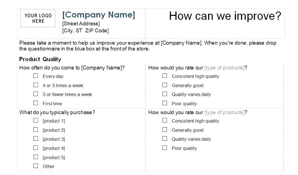 Customer Survey Questionnaire Pdf