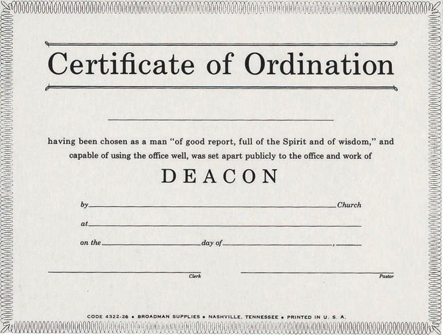 Deacon Ordination Certificate Templates