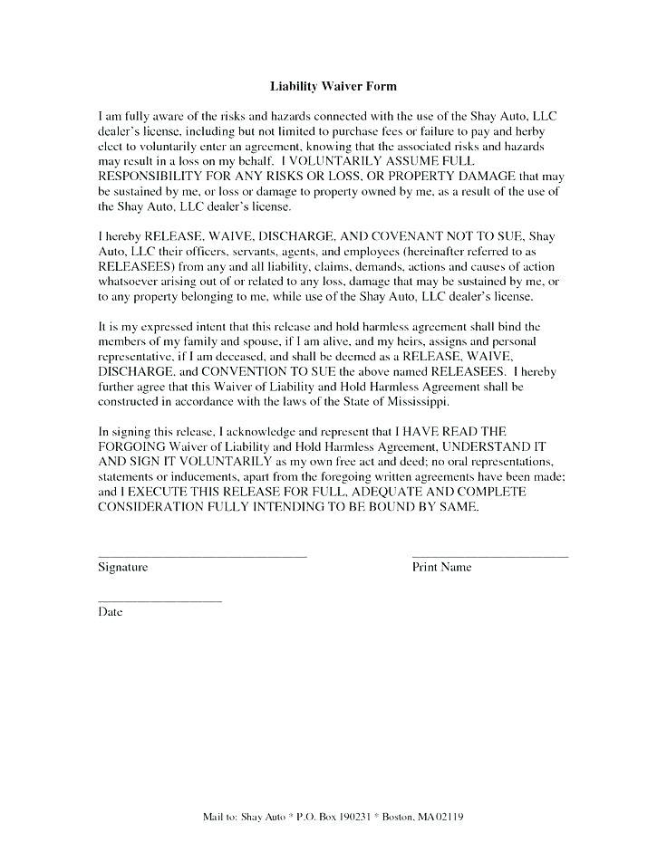 Delivery Damage Waiver Form Template