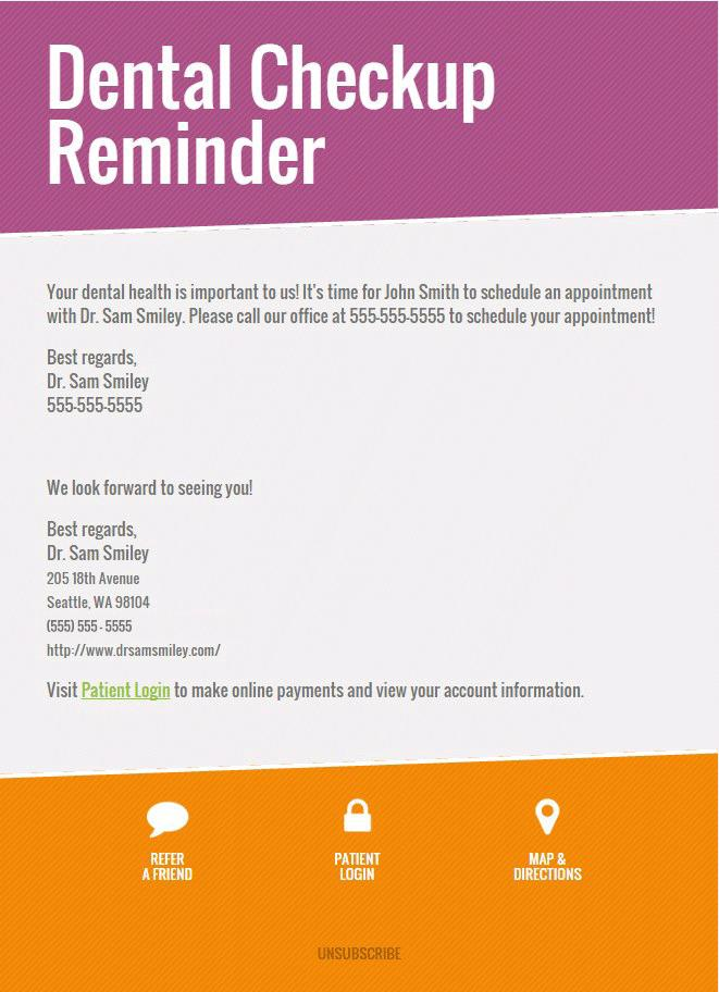 Dental Appointment Reminder Email Template