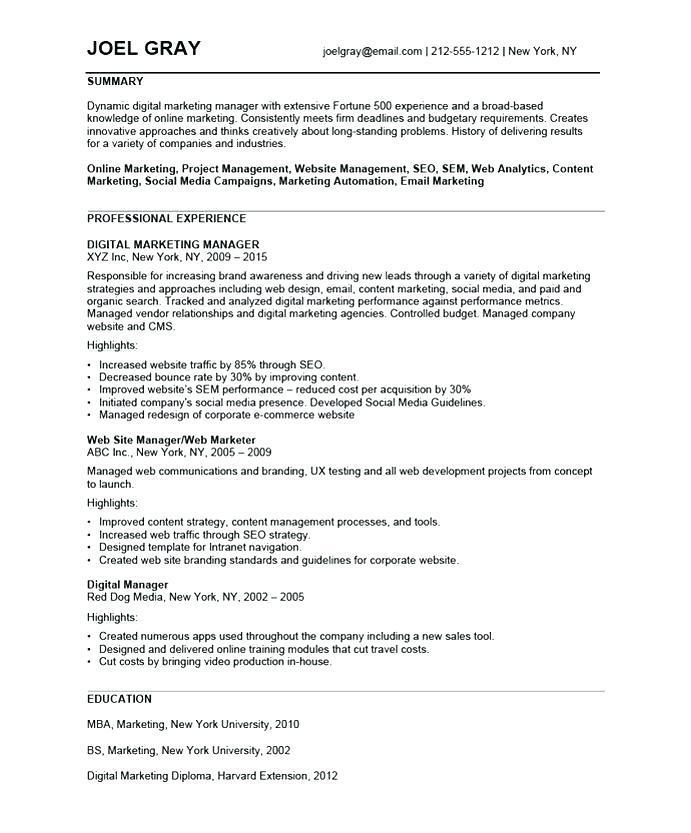 Digital Marketing Resume Sample