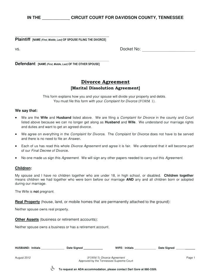 Divorce Financial Settlement Agreement Template Australia