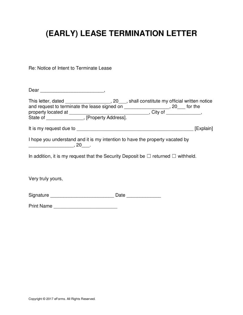 Early Termination Of Lease Agreement Template