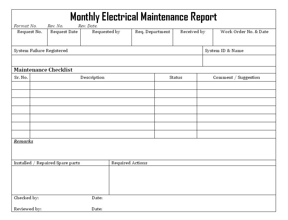 Electrical Maintenance Checklist Template