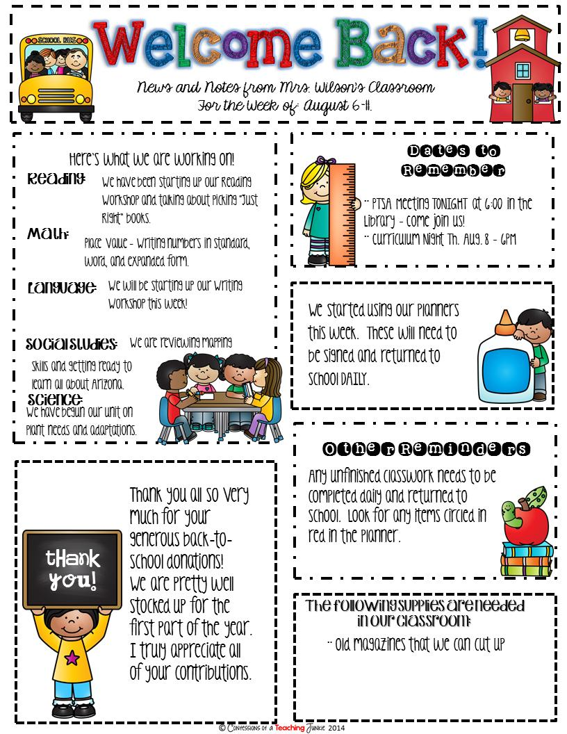 Elementary Classroom Newsletter Templates Free