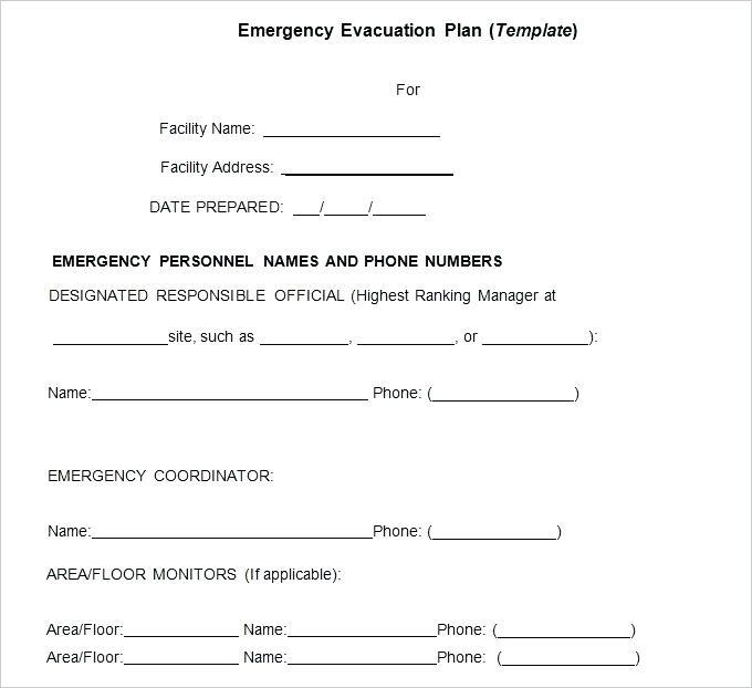 Emergency Evacuation Plan Template Nz